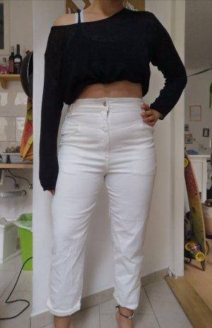 H&M Spodnie karoty biały