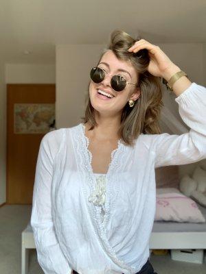 Weiße Hippie Bluse rüschen Hollister vintage