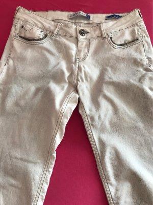 Bershka Spodnie karoty jasnoszary-biały Bawełna