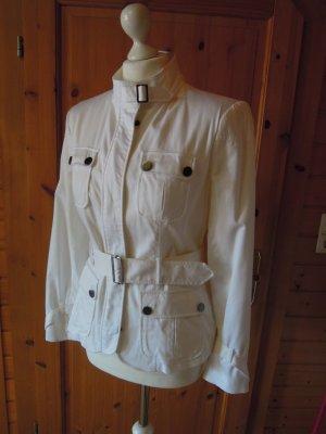 weiße Jacke Blazer Anorak ZARA BASIC Größe M 38 mit Gürtel gefüttert Übergangsjacke für Frühling Sommer Herbst
