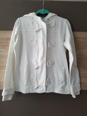 weiße Jacke, Sweatjacke mit Kapuze, Gr. 40/42