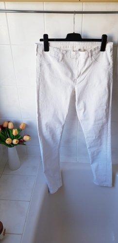 H&M Pantalon taille haute blanc