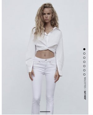 Zara Spodnie z pięcioma kieszeniami biały-w kolorze białej wełny