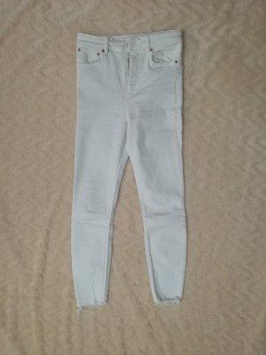Zara Woman Pantalone a vita alta bianco