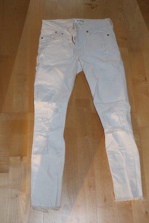 Mango Pantalón de tubo blanco