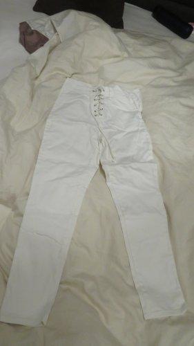 weiße Jeans Hose mit Schnürung