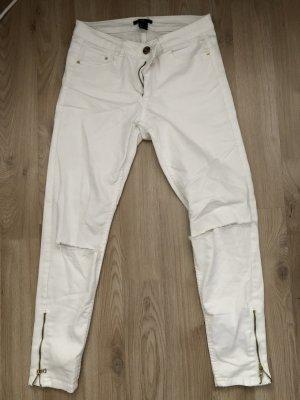 H&M Jeansy ze stretchu biały-brąz