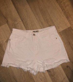 Weiße Jeans Shorts mit Rissen