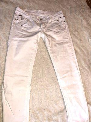 pantalón de cintura baja blanco-color plata