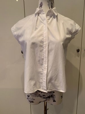 Weiße kurz-geschnittene kurzärmlige Bluse von Zara