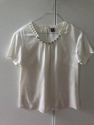 weiße kurzärmlige Bluse mit Perlen und Glitzersteinen
