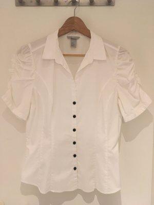 Weiße Kurzarm-Bluse mit gerafften Ärmeln von H&M in Größe 40 (42)
