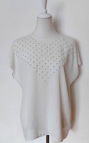 weiße kurzarm Bluse mit Perlen