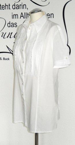 Weiße Kurzarm-Bluse mit süßen Details (mit Rüschen und Spitze, sehr angenehmes Material) - Neuwertig!