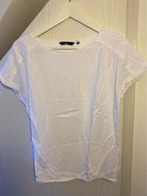 Weiße Kurzarmbluse/ Shirt mit elastischem Bündchen