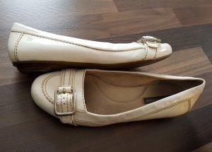 Tommy Hilfiger Ballerina di pelle verniciata bianco-grigio chiaro