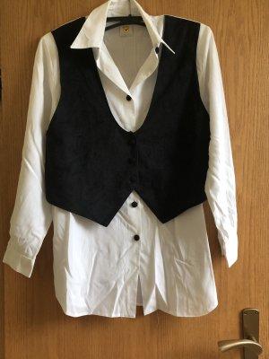 Weiße langärmelige Bluse mit Weste