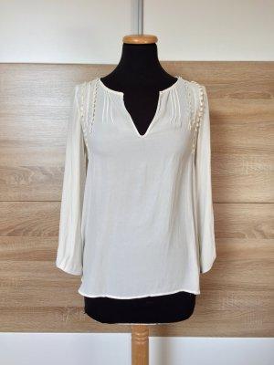 Weiße Langarm Basic Bluse von Zara, Gr. XS
