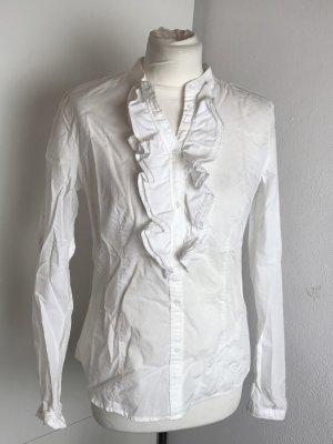 Weiße langarm Bluse Rüschen Gr 38 M