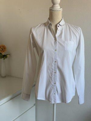 Weiße Langarm Business Hemd-Bluse