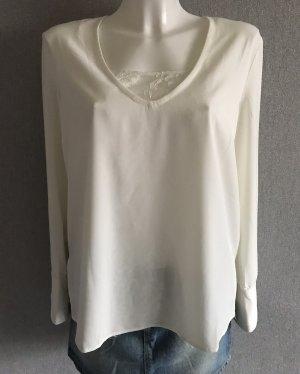 Weiße lange Bluse mit Spitze Größe 36
