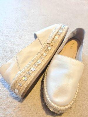 Aldo Espadrille Sandals white-silver-colored leather