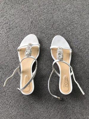 weiße Leder-Sandale mit Glitzersteinen