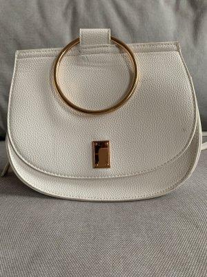 weiße Lederhandtasche von Hallhuber