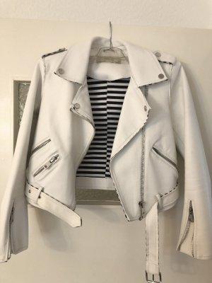Zara Basic Leren jack wit-donkerblauw