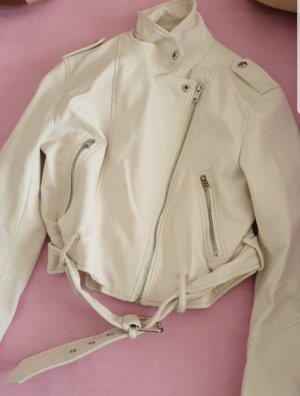 Bershka Leather Jacket white