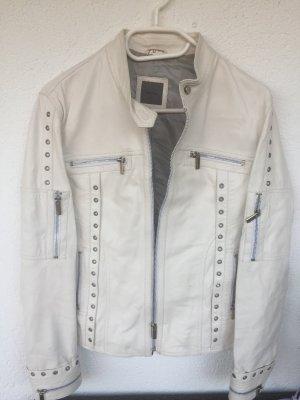 Weiße Lederjacke in 42