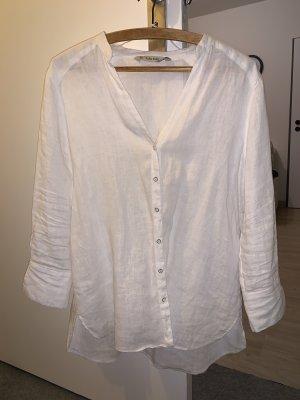 Zara Basic Blusa de lino blanco Lino