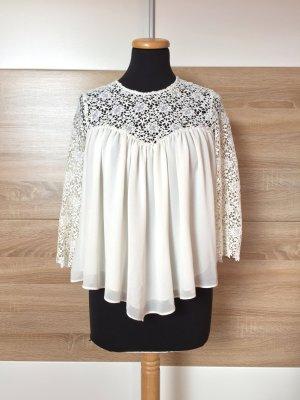 Weiße Lochmuster Babydoll Bluse von Zara, Gr. S