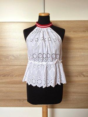 Weiße Lochmuster Stickerei Bluse von Zara, Gr. L (NEUw.)