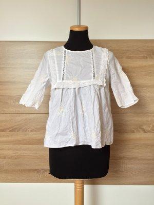 Weiße Lochmuster Stickerei Bluse von Zara, Gr. M
