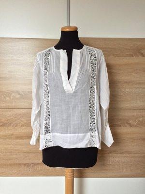 Weiße Lochmuster Stickerei Bluse von Zara, Gr. S (NEU)