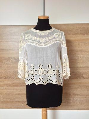 Weiße Lochmuster Stickerei Bluse von Zara, Gr. S (NEUw.)