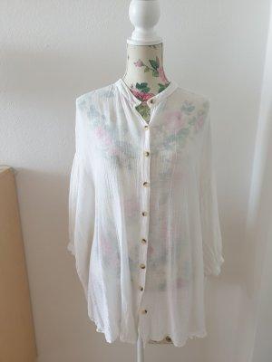 Weiße Longbluse, oversized von Zara