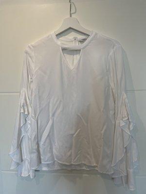Weiße Mavi-Bluse mit Cut-Out und Rüschärmeln in M