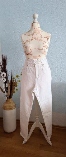 Mango High Waist Jeans white cotton