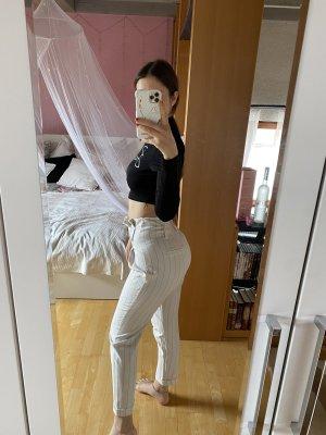 Bershka Marlene Trousers white-black