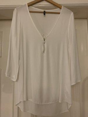 Weiße Naf Naf Bluse mit spitze und reisverschluss
