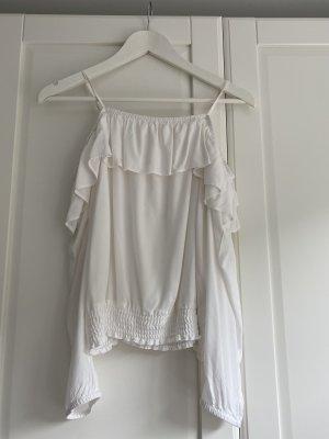 H&M Bluzka z falbankami biały Wiskoza