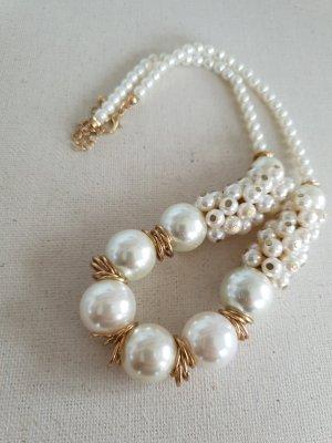 Weiße Perlen Statement Kette Halsschmuck Halskette Schmuck
