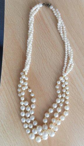 Collana di perle bianco-oro