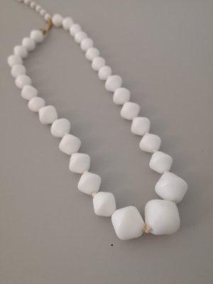 weiße Perlenkette eckig vintage von Western Germany 60er