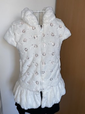 0039 Italy Pluszowa kurtka biały-srebrny