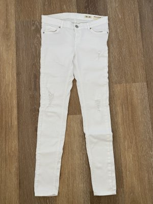 Weiße ripped Skinny Jeans von Review Gr. W30/Long