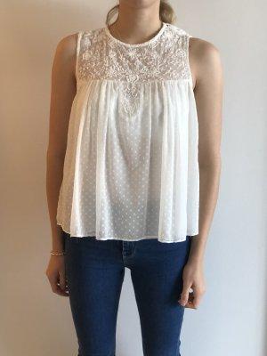Weiße Rüschchenbluse von Zara