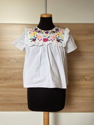 Weiße Rüschen Blumen Stickerei Bluse von Zara, Gr. S